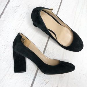 Tory Burch Elizabeth Black, Suede, Round Toe Pumps